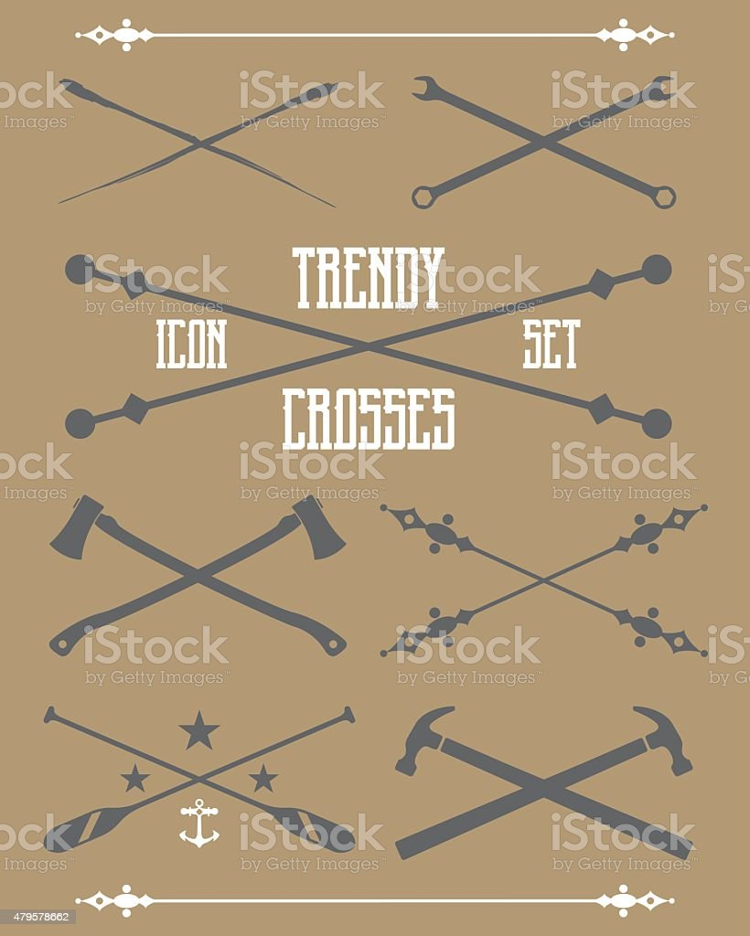 Trendy Crosses vector art illustration