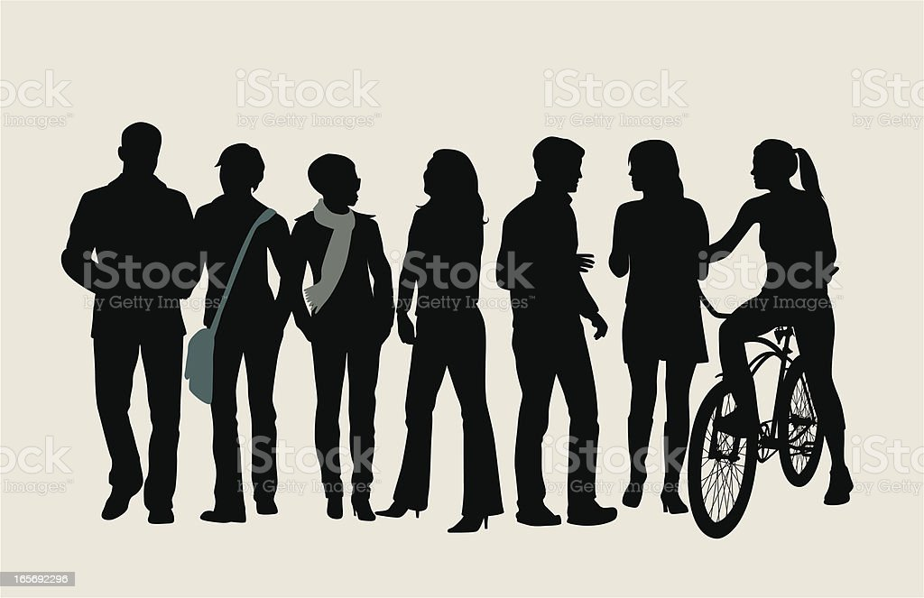Trendy Crowd Vector Silhouette royalty-free stock vector art