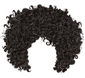 trendy curly  african black  hair  . realistic  3d . fashion beauty style .