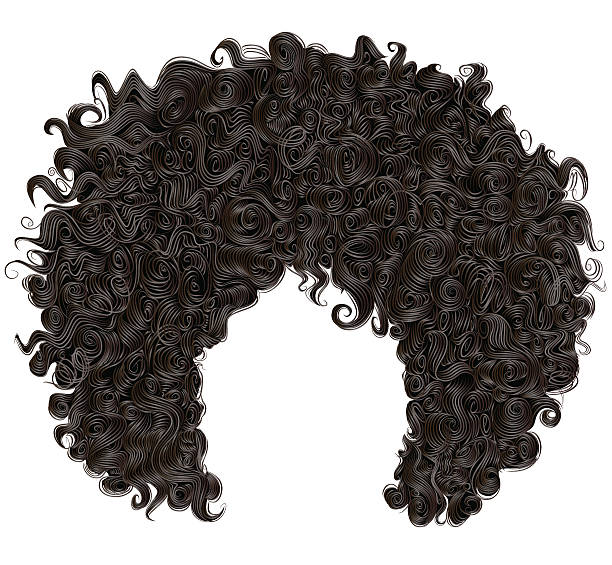 stockillustraties, clipart, cartoons en iconen met trendy curly  african black  hair  . realistic  3d . fashion beauty style . - curly brown hair