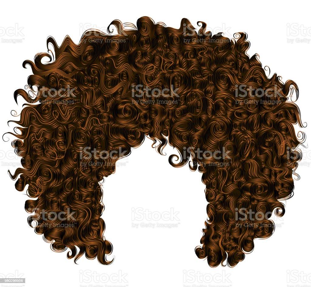 Trendige Lockige Dunkelbraune Haare Sphärische Haare Stock Vektor