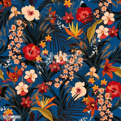 Trendy summer tropical background with deep jungle plants. Vector exotic pattern with palm leaves and flowers,orchid seamless vector design for fashion,fabric wallpaper and all prints on dark blue background color