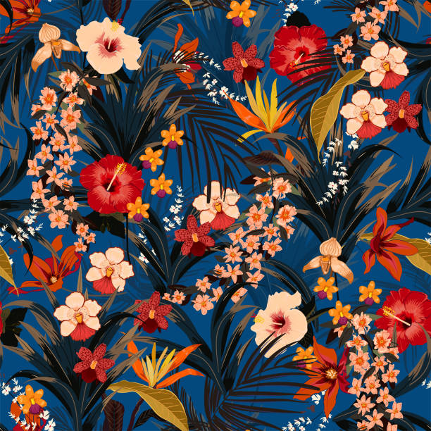 Trendy deep summer tropical background with jungle plants. Vector Trendy summer tropical background with deep jungle plants. Vector exotic pattern with palm leaves and flowers,orchid seamless vector design for fashion,fabric wallpaper and all prints on dark blue background color tropical flower stock illustrations