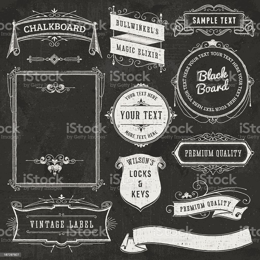 Trendy design elements related with chalkboard royalty-free stock vector art
