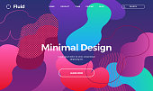 Trendy abstract design template with fluid and liquid shapes. Bright pattern gradient backgrounds. Applicable for covers, brochures, flyers, presentations, banners. Vector illustration. Eps10