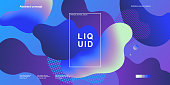 Trendy abstract design template with fluid and liquid shapes. Holographic gradient backgrounds. Applicable for covers, websites, flyers, presentations, banners. Vector illustration. Eps10