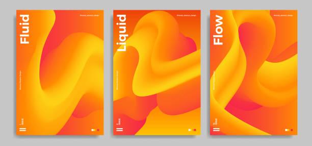 ilustrações de stock, clip art, desenhos animados e ícones de trendy design templates with 3d flow shapes - líquido