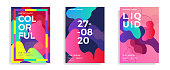 Set of trendy abstract design templates with fluid and liquid shapes. Bright pattern gradient backgrounds. Applicable for covers, brochures, flyers, presentations, banners. Vector illustration. Eps10