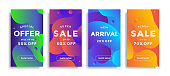 Trendy design templates with fluid shapes. Set of sale banners with colorful gradient background. Modern design for social media stories with discount offer. Vector illustration.
