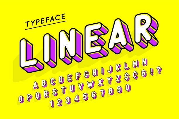 Trendige Display Schriftdesign Popart, Alphabet, Buchstaben und Zahlen – Vektorgrafik