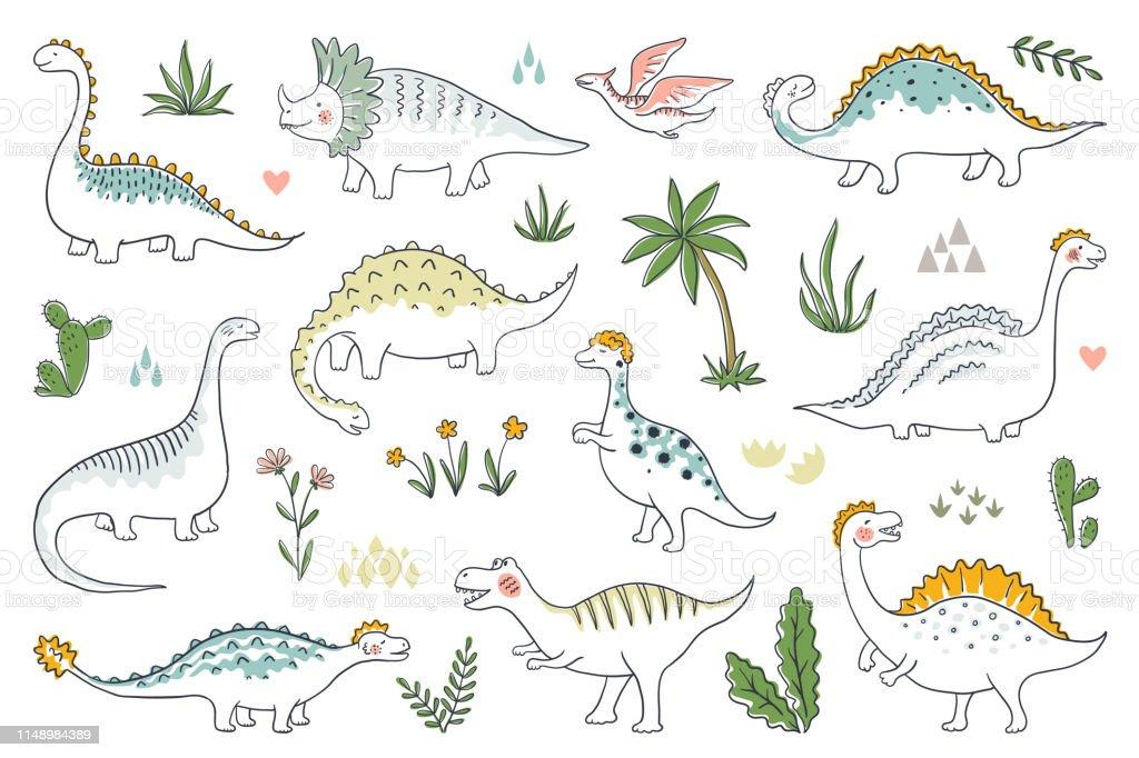 Trendy Doodle Dinosaurs Cute Outline Dino Babies Set Funny Cartoon