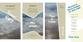 Trendy easy editable template for social media stories in torn paper style. Travel theme Creative design background for individual and corporate web promotion, blogs. Vector illustration.