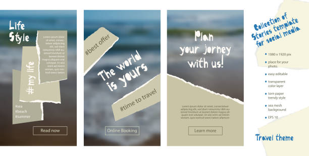 Trendy easy editable template for social media stories in torn paper style. Travel theme Creative design background for individual and corporate web promotion, blogs Trendy easy editable template for social media stories in torn paper style. Travel theme Creative design background for individual and corporate web promotion, blogs. Vector illustration. adventure borders stock illustrations