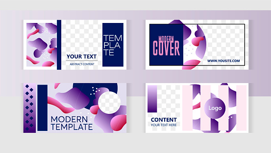 Trendy editable set templates. Background set horizontal banner templates with frame for images. Delicate purple pastel colored spots modern style.