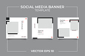 3 Editable square banner layout template. modern promotion square web banner for social media.