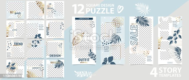 Trendy editable template for social networks stories and posts, vector illustration. Set of instagram story and puzzle post square frame. Mockup for advertising.  Design backgrounds for social media.