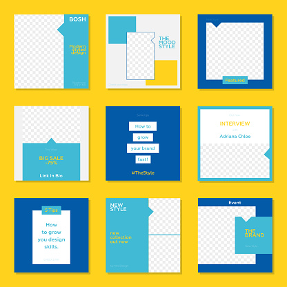 Trendy editable template for social networks stories and posts. Yellow and Blue Color Concept.