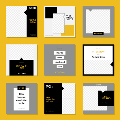 Trendy editable template for social networks stories and posts. Yellow and Black Color Concept.