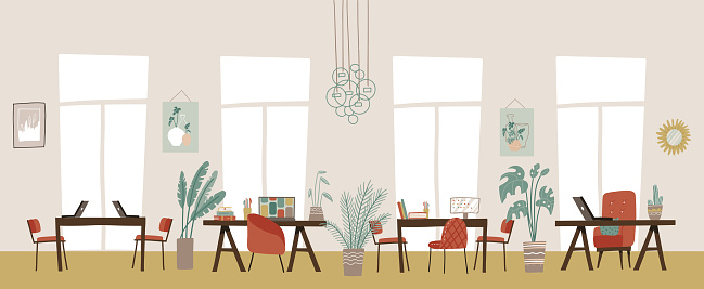 Trendy elegant co-working center interior. Modern workspace empty, no people. Cabinet with furniture office sketch. Horizontal background. Flat vector illustration.