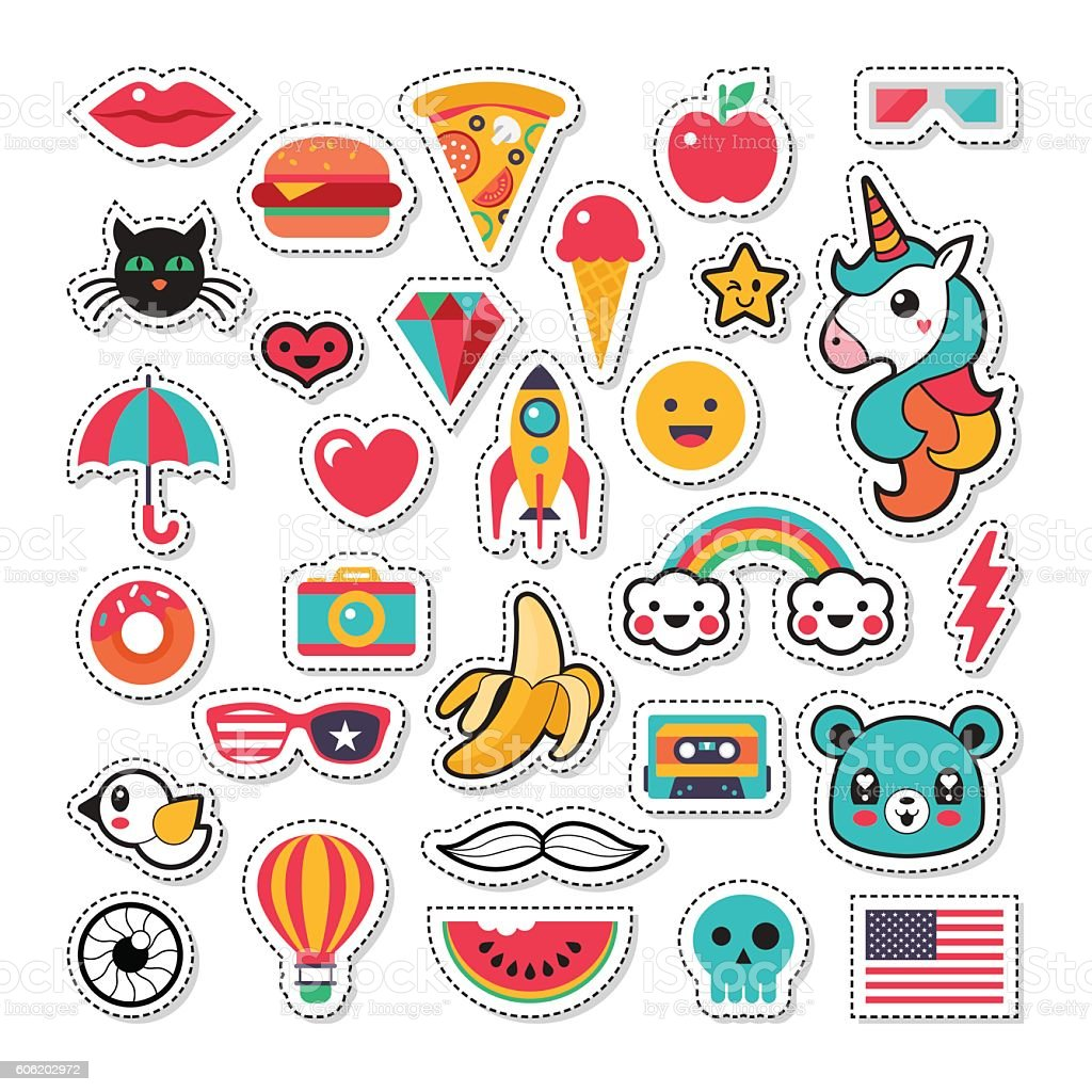 Trendy fashion chic patches, pins, badges and stickers design set - ilustración de arte vectorial
