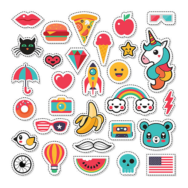 trendy fashion chic patches, pins, badges and stickers design set - stern tattoos stock-grafiken, -clipart, -cartoons und -symbole