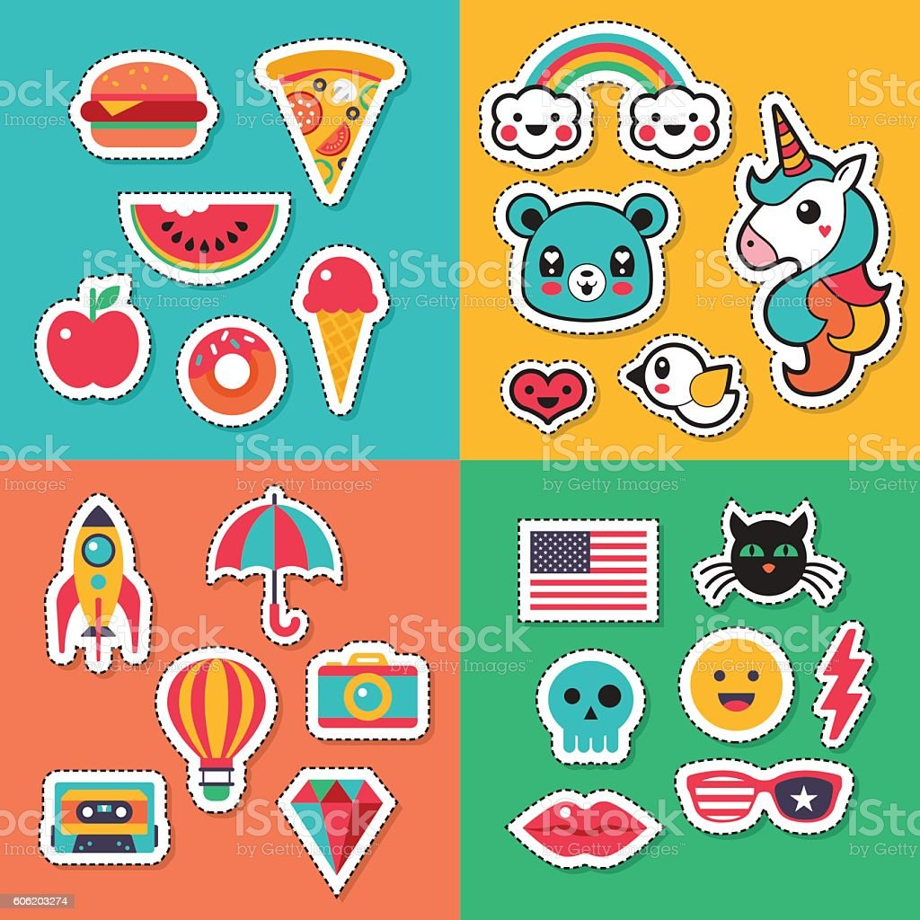 Trendy fashion chic patches, pins, badges and stickers design set – Vektorgrafik