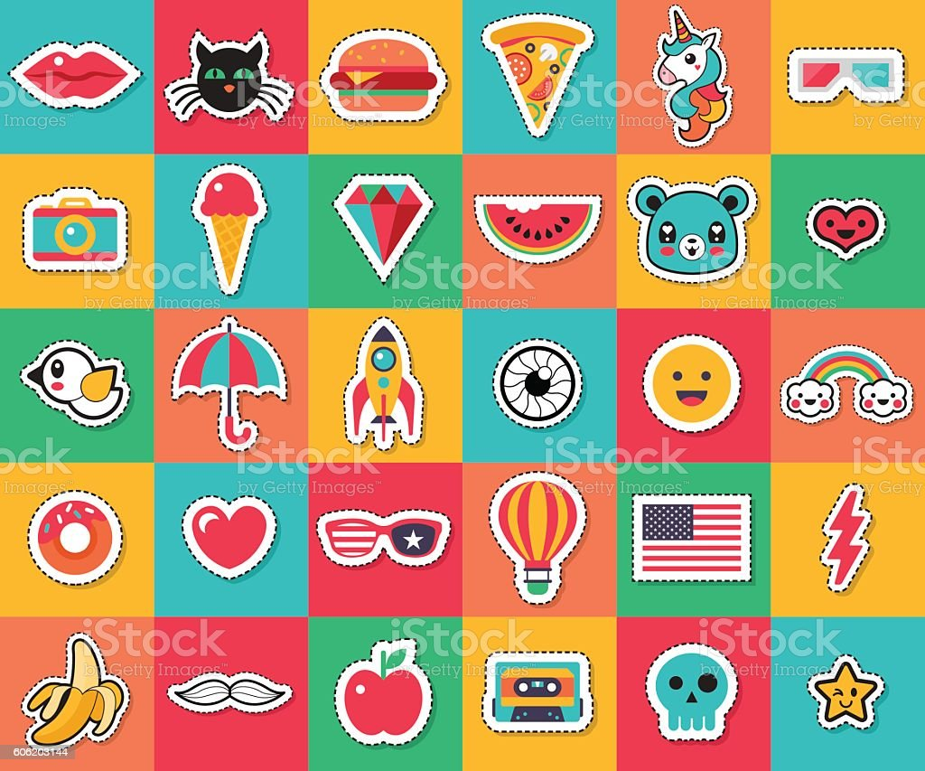 Trendy fashion chic patches, pins, badges and stickers design collection – Vektorgrafik