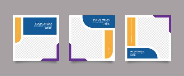 bildbanksillustrationer, clip art samt tecknat material och ikoner med trendiga mode sociala medier post mall - social media post template