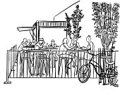 illustration of a fast food restaurant with a large terrace and high tables and stools with customers eating outside