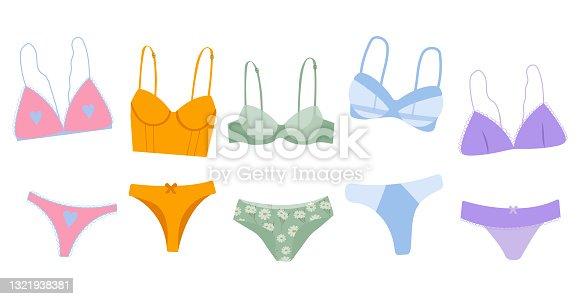 Trendy female underwear, lingerie set cartoon flat vector illustration. Transparent panties and bras.