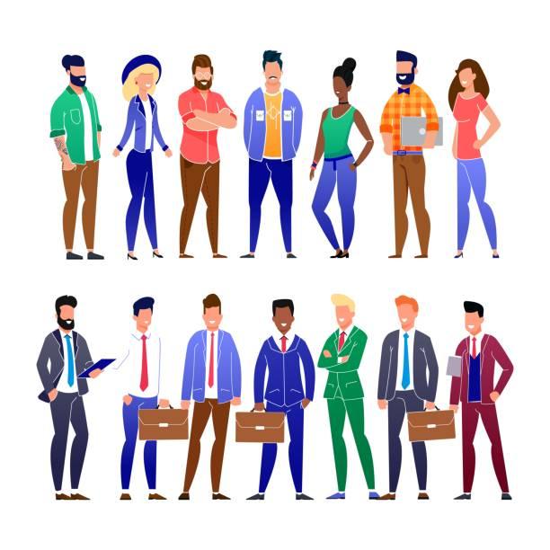 Trendige Flat Business People und Freelancers Set – Vektorgrafik
