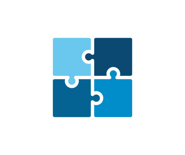 illustrazioni stock, clip art, cartoni animati e icone di tendenza di trendy flat corporate blue puzzle icon. vector illustration of four puzzle matching pieces for concepts of games, toys, business and start up strategies and solutions - puzzle