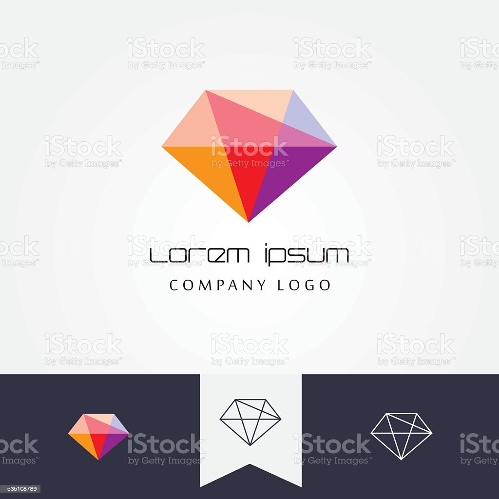 trendy flat design facet crystal gem shape design element vector art illustration