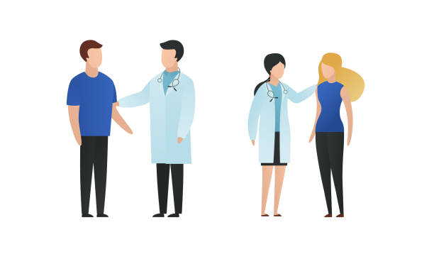 illustrazioni stock, clip art, cartoni animati e icone di tendenza di trendy flat doctor and patient character vector flat illustration. male and female medic saying news, comforts people isolated on white background. coat uniform, blue cloth, stethoscope. - paziente