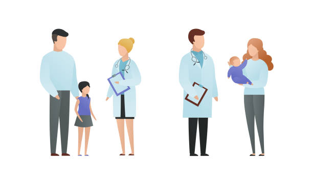 illustrazioni stock, clip art, cartoni animati e icone di tendenza di trendy flat doctor and patient character vector flat illustration. male and female pediatrician talking with parents and child isolated on white. on picture coat uniform, girl, baby on hands. - dottoressa