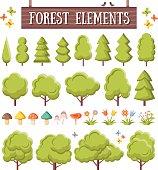 Trendy flat forest elements set. Beautiful trees, mushrooms, flowers, butterflies