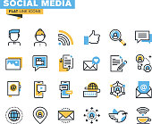 Icons for social media, social network, communication, digital marketing, for websites and mobile websites and apps.