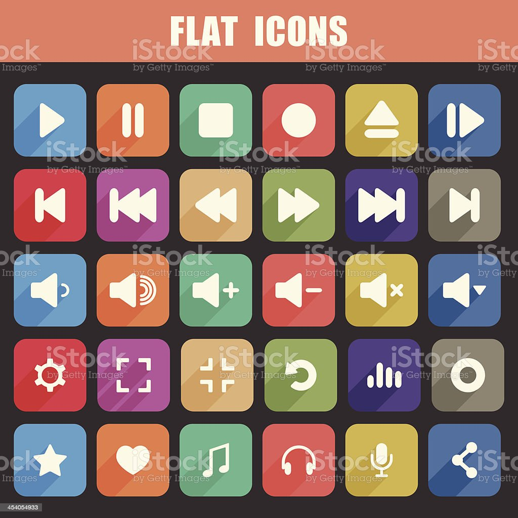 Trendy Flat Media Player Icons Set. Multimedia. Vector royalty-free stock vector art