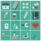 Trendy flat medical icons. Vector elements Vector set of medical icons