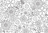 Trendy Floral Coloring Book Page Seamless Vector Pattern.