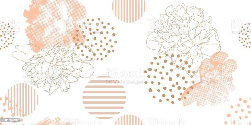Trendy floral pattern in a half tone style. - arte vettoriale royalty-free di Abbigliamento casual