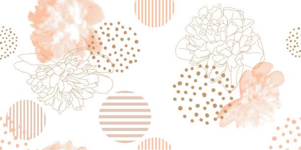 ilustraciones, imágenes clip art, dibujos animados e iconos de stock de patrón floral moda en un estilo de tono medio. - fémina