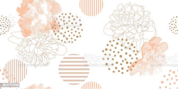 Trendy Floral Pattern In A Half Tone Style - Immagini vettoriali stock e altre immagini di Abbigliamento casual