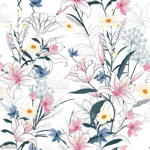 Trendy floral pattern in the many kind of flowers tropical botanical vector id887194852?b=1&k=6&m=887194852&s=612x612&h=iffknsf4u2s7amhqaqu4fa39xzpzutyoikkshd87xvq=