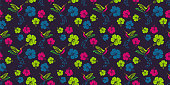 Trendy floral pattern with colorful hibiscus flowers and Colibri bird. Vector illustration for fashion wrapping and textile print.