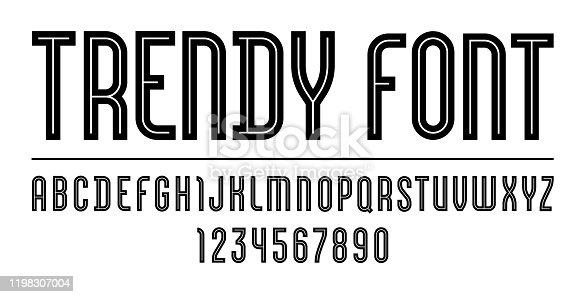 istock Trendy font, simple alphabet, uppercase black letters and numbers 1198307004