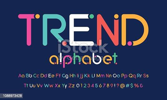 Trendy rounded dot alphabet design
