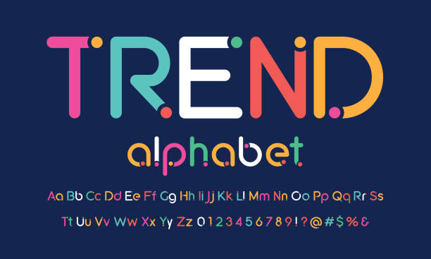 trendy font Trendy rounded dot alphabet design youth culture stock illustrations