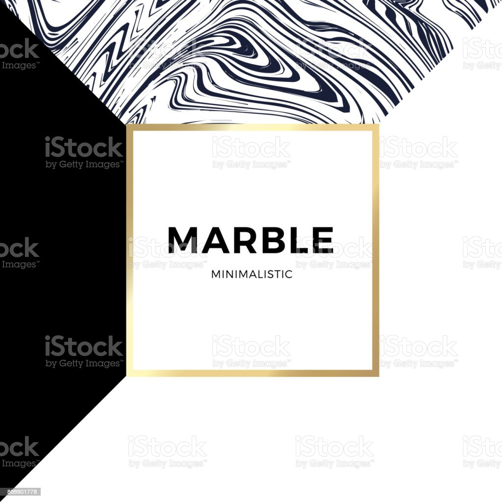 Trendy geometric card or flyer design wiht contrast shapes, marble texture, gold frame and space for text. Vector illustration vector art illustration