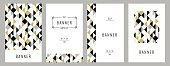 Trendy geometric cards with abstract seamless pattern. Gold black and white triangle Pattern . Vector illustration